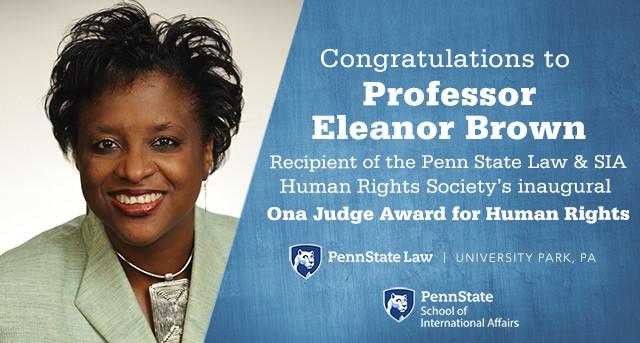 Professor Eleanor Brown recieves Ona Judge Award for Human Rights