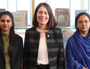 Dean Hari Osofsky poses with Bhargavi Kannan and Sanya Kishwar